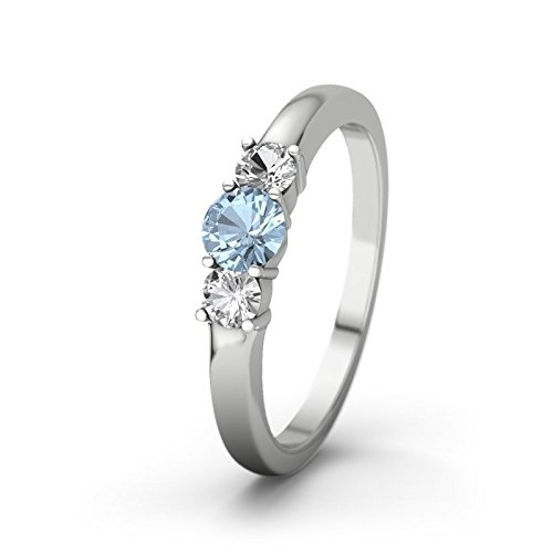 21DIAMONDS Women's Ring Rouby 21PREMIUM Engagement Ring Blue Topaz Diamond Pendant 9Ct White Gold Engagement Ring