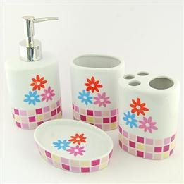 Luxury Gifts Flower Printed Four-Piece Ceramic Bath Accessory Set front-321360