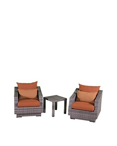RST Brands Cannes Club Chairs and Side Table Set, Orange