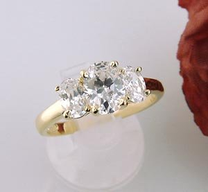 Three Stone Gold EP 925 Sterling Silver Bridal Wedding Engagement Ring New Size 8