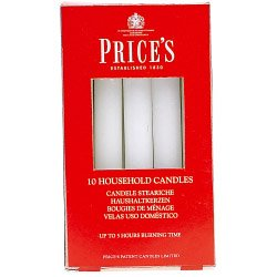 PRICES HOUSEHOLD CANDLES IN WHITE PACK OF 10
