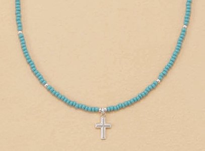 Sterling Silver/2mm Turquoise Glass Bead Child-Size Necklace, 1/2 inch Cross Charm, 13+2in Ext.