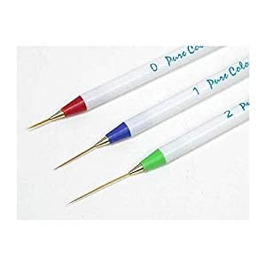 Set of 3 Sable NAIL ART Brushes Pen, Detailer Liner and Striper