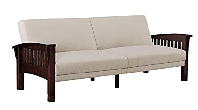 DHP Compton Convertible Splitback Sofa Sleeper with Mission Style Wood Sidearms and Beige Chenille