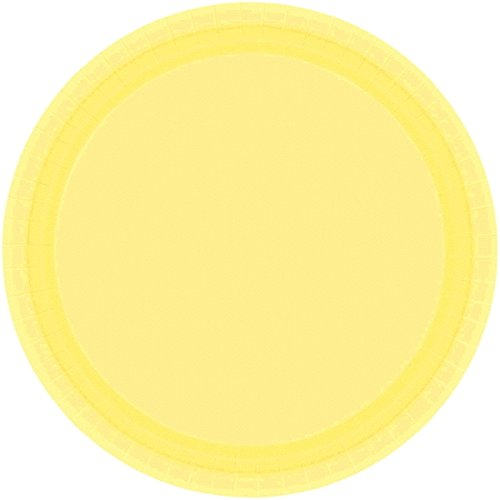 "Amscan Light Yellow Birthday Round Paper Plates, 9"", Yellow"