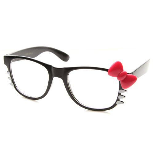 Clear Fashion Glasses Black Pink Retro Fashion Kitty Clear