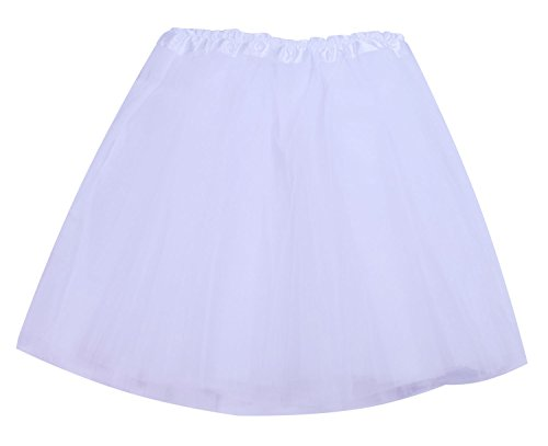 [SUNNYTREE Party Tulle White Tutu Dance Costumes Ballet Skirt for Women White] (Homemade Halloween Costumes For Baby Girl)