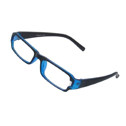 Womdee(Tm) Black Blue Fashion Clear Plastic Full Frame Rectangle Lens Plano Eyeglasses For Man Women,Uv Protection With Womdee Accessory front-952670