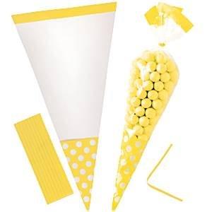 Cône de cellophane doux sacs - soleil jaune (Pack de 10)