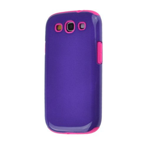Dual Layer Hard Shell Case Cover With Soft Silicone Core For Samsung Galaxy S3 I9300 (Rose/Darkpurple)