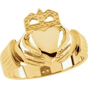 10kt Yellow 15x11mm Men's Claddagh Ring