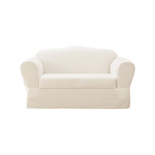 Sure fit cotton twill separate seat loveseat slipcover white home garden decor slipcovers White loveseat slipcovers