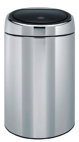 Brabantia Touch Bin with Fire Resistant Metal Bucket, 20 Litre, Brilliant Steel