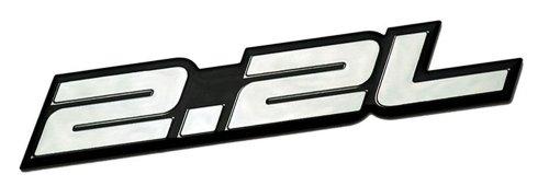 2.2L Liter Embossed SILVER on Black Dodge Daytona IROC Shelby Lancer CSX GLH-S Charger Omni GLH Aries Spirit Phantom R/T Plymouth Horizon Reliant Chevy Chevrolet Cobalt LS HHR FWD Cavalier Malibu S-10 S10 Saturn Ion Ion-1 Vue GMC Sonoma SLS Ford Probe Ranger Pontiac Grand Am Sunfire SE Mercedes Benz C Class C-Class 200 Series Sedan coupe Wagon 2 3 4 5 2dr 3dr 4dr 5dr door hatchback turbo turbocharged (Transformer Gmc Emblem compare prices)