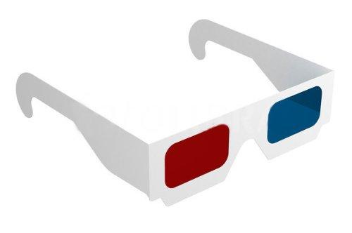 niceeshop(TM) 1 Set(10pcs) Unisex White Full Frame Anaglyph Cardboard 3D Glasses-Red & Blue