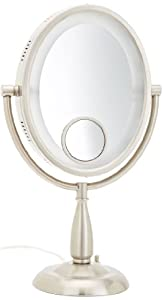 Jerdon HL9510N 8-Inch Oval Halo Lighted Vanity Mirror with 10x and 15x Magnification, 3-Light Settings, Nickel Finish