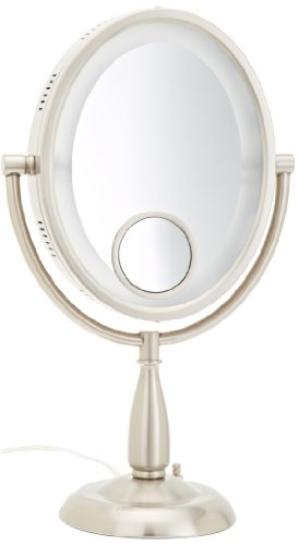 Jerdon HL9510N 8-Inch Two-Sided Oval Halo Lighted Vanity Mirror with 10x and 15x Magnification and 3-Light Settings, 17.5-Inch Height, Nickel Finish