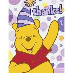 Pooh's 1st Birthday Girl Thank You Notes 8ct