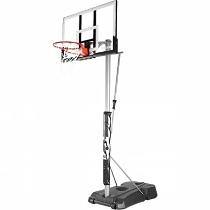 "Spalding NBA Hercules Vertical Pole Portable Basketball Hoop - 52"" Acrylic Backboard, Black Base"