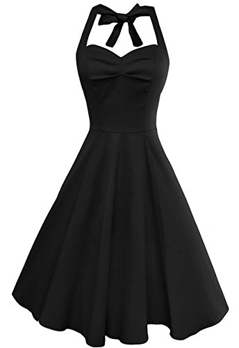 Anni Coco Women's Marilyn Monroe 1950s Vintage Halter Swing Tea Dresses Black Small