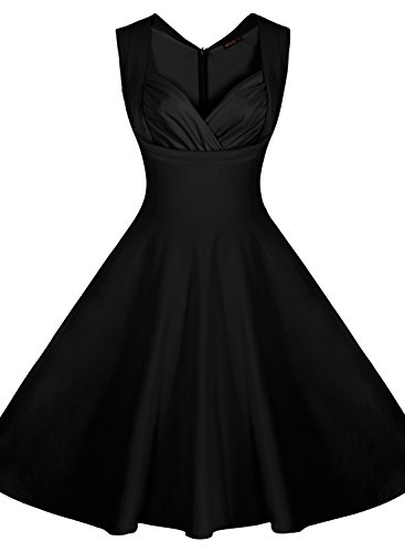 Miusol® Women's Cut Out V-Neck Vintage Casual 1950'S Retro Bridesmaid Dress (X-Large, Black)