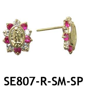 14k Yellow Gold Miraculous Medal Screwback Earrings
