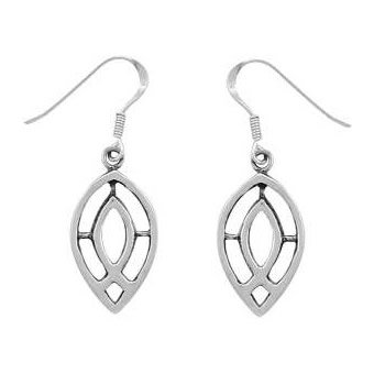 Christian Women's Sterling Silver Oval Jesus Ichthus Fish Dangle Earrings - Purity, Chastity Earrings for Girls