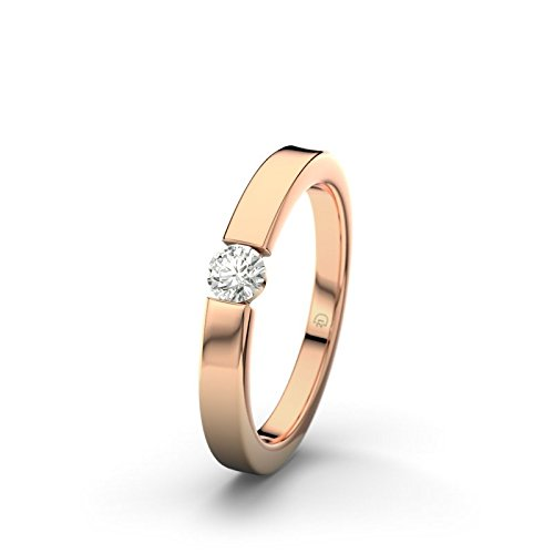21DIAMONDS Women's Ring Modena SI1 0.15 CT Brilliant Cut Diamond Engagement Ring 14ct Rose Gold Engagement Ring
