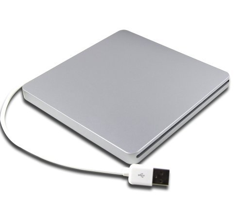"""New 8X Dl Usb Superdrive Super Slim 13Mm Dvd Rw Dual Layer Burner Portable External Usb 2.0 Optical Drive Replacement For Apple Imac 27"""" 21.5"""" 24"""" 2012 2013 2011 2010 Silver"""