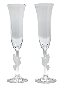 Gorham Amore Dove Toasting Flutes, Set of 2