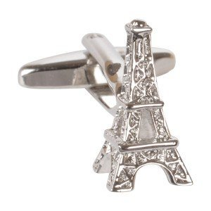 Silver Eiffel Tower Paris Cufflinks + Free Box & Cleaner