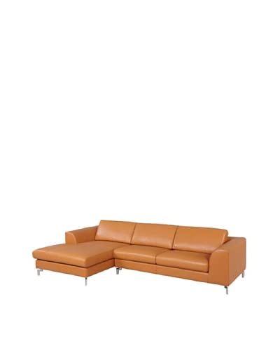 Furniture Contempo Angela Leather Sectional with Right-Handed Chaise, Camel