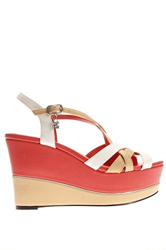 B27 ROSSO.Sandalo fondo zeppa.Rosso/bianco.40