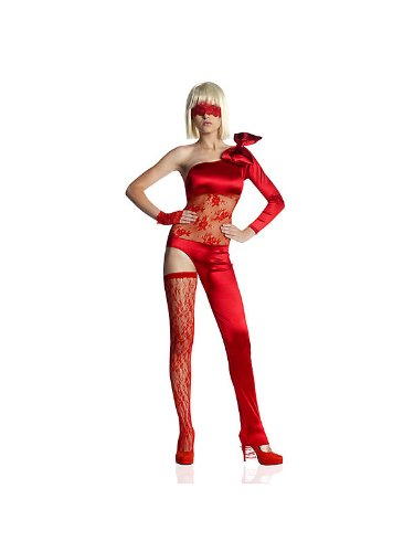 , single lace thigh high, single fingerless glove Wig and shoes not included