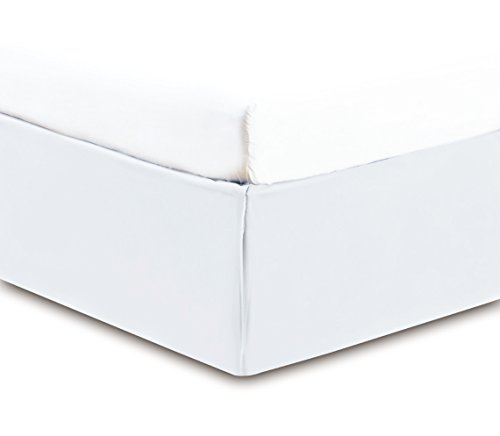 Gold Crown Premium Solid QUEEN WHITE BED SKIRT W/Split Corners High Thread Count 14 inch fall 95 GSM Microfiber 1500 Series dust ruffle allows Natural draping, Durable, Silky Soft & Wrinkle Free. (Split Corner compare prices)