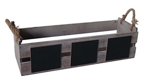 Cheungs Home Indoor Office Wall Decorative Wooden Rectangular Ledge Planter Box With Chalkboard