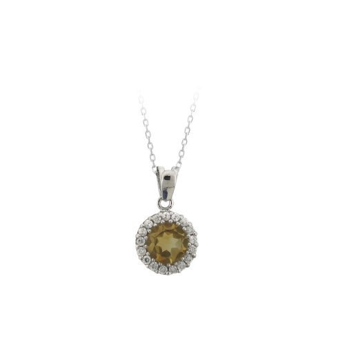 Sterling Silver Round Citrine Pendant Necklace, 18
