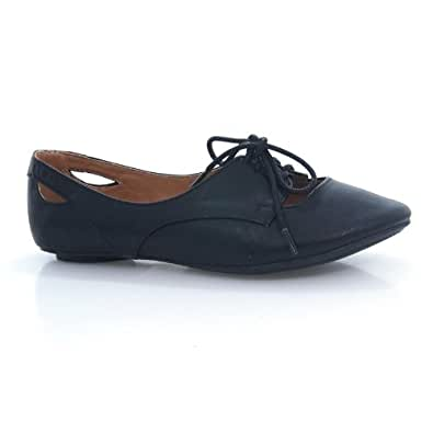 Graben Black Cut Out Lace Up Round Toe Oxford Flats Athletic Lightweight Women's Shoe-6