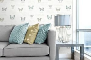 Fine Decor Butterfly Wallpaper - Soft Blue from New A-Brend