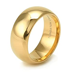 Plain Dome Gold Tungsten Carbide Wedding Band Ring 9mm - Size 9