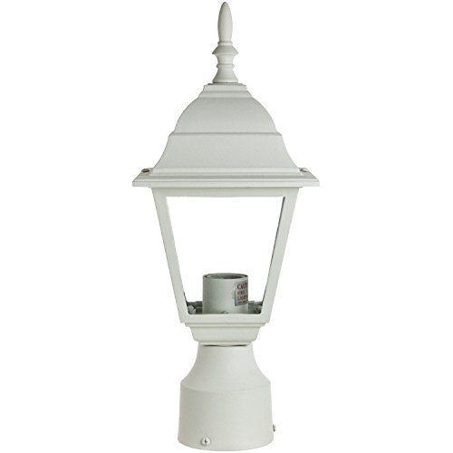 Sunlite ODI1160 15 Inch Decorative Light Post Outdoor Fixture White Finish N