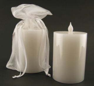 BATTERY OPERATED Pillar CANDLE wax white vanilla 3 x 4 flameless dripless wedding favor