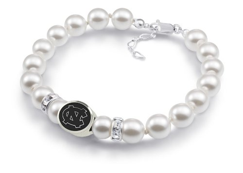 North Carolina Tarheels Bead Jewelry White Swarovski Pearl Bracelet at Amazon.com