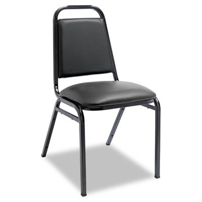 Upholstered Stacking Chairs w/Square Back, Black Vinyl, Black Frame, 4/Carton, Sold as 1 Carton