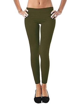 Mato & Hash Women's 90/10 Cotton Spandex Tights Pant Leggings Army S
