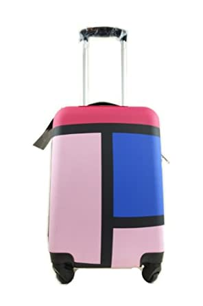 """S.H. Vivid 20"""" small Hardside carry-on Luggage (Rose PinkColorful Rectangle)"""
