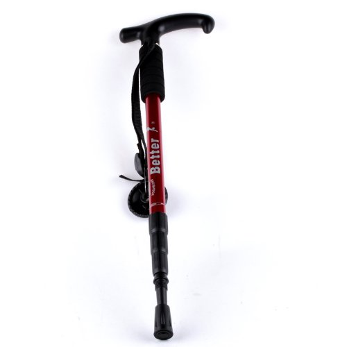 Ostart Red Adjustable Anti-shock Hiking Cane Walking Pole Trekking Walk Stick Crutch, Outdoor Stuffs