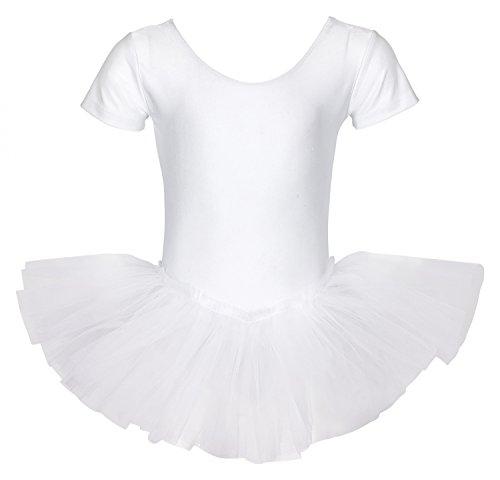 """tanzmuster Kinder Ballett Trikot Ballettanzug """"Alina"""" mit Tutu-Röckchen - Balletttutu aus 3-lagigem Tüll. Zauberhaftes Ballettkleid für Mädchen in rosa, weiß und schwarz."""
