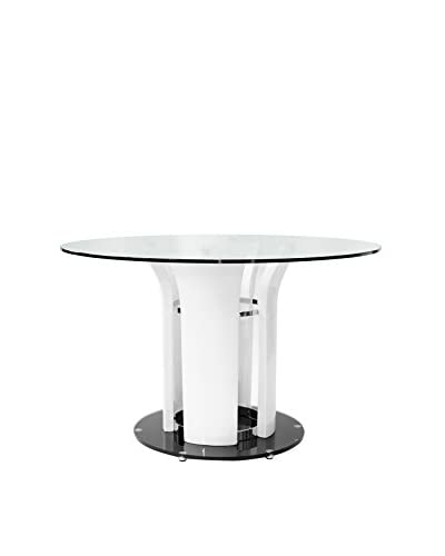 Furniture Contempo Lola Round Dining Table, White/Black/Clear