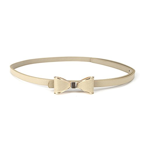 TopTie Thin Waist Belt Cute Bow Buckle BEIGE